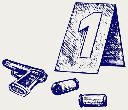 policia caricatura: Ciencias Forenses. Lugar de rodaje. Doodle estilo Vectores
