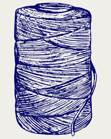 skein: Roll of twine cord. Doodle style Illustration