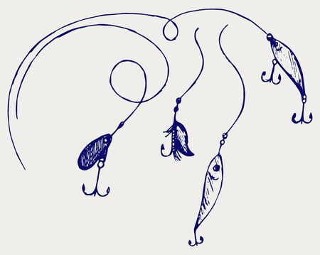 fishing lure: Set of fishing gear. Doodle style