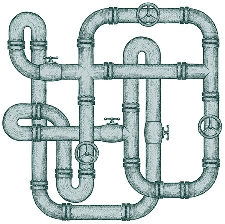 linework: Maze of metal pipes. Doodle style