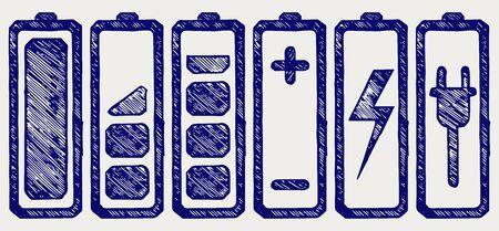 cadmium: Battery charge level indicators. Doodle style