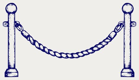 rope barrier: Barrier rope. Doodle style
