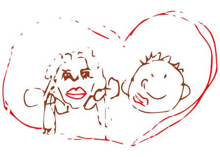 femme amoureuse: Homme et femme. Le Amour. style Doodle