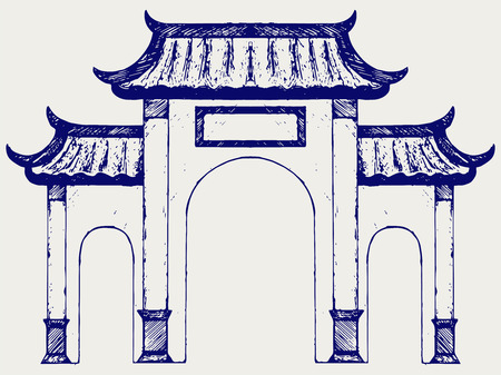 east gate: Ancient Chinese gate. Doodle style