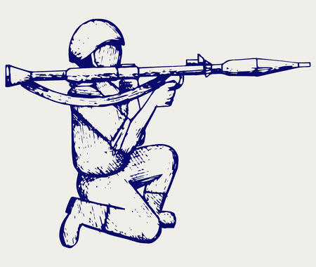 mercenary: Mercenary shoot with a bazooka. Doodle style