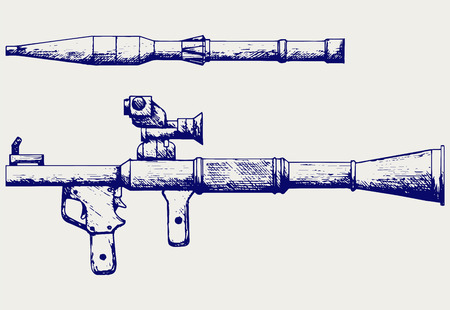 warhead: Anti-tank rocket propelled grenade launcher - RPG 7. Doodle style Illustration