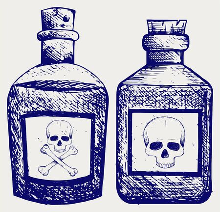 vial: Glass bottles of poison. Doodle style