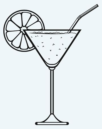 linework: Tropical fresh cocktail isolated on blue background