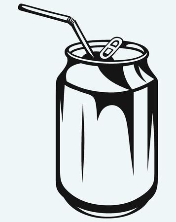 lata de refresco: La cerveza puede aisladas sobre fondo azul