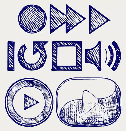 video player: Play button. Doodle style
