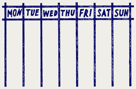 Weekly calendar. Doodle style