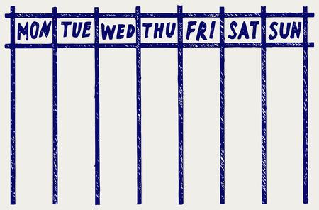 weekly: Weekly calendar. Doodle style