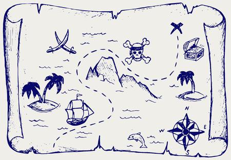 schateiland: Kaart van schat eiland. Doodle stijl