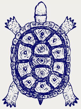 slowness: Land turtle. Testudo hermanni. Doodle style Illustration