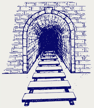 tunnel view: Railway tunnel. Doodle style