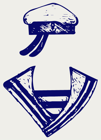 skipper: Sailor clothing. Doodle style