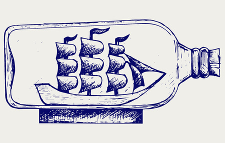 seafaring: Old sailboat in glass bottle. Doodle style