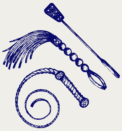 Three different types of whips for sexual role-playing and SM games. Doodle style Vectores