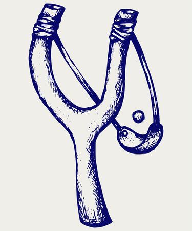 no war: Wooden catapult slingshot. Doodle style Illustration