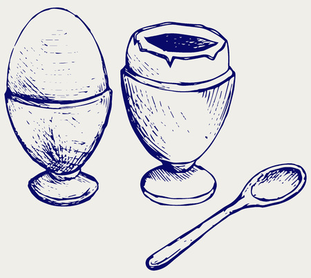 continental food: Boiled egg breakfast. Doodle style