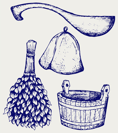spa still life: Sauna ready accessories - broom, bucket, hat and scoop. Doodle style
