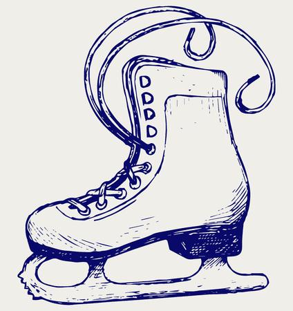 zapatos caricatura: Patines blancos. Doodle estilo