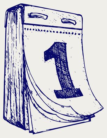 tear off: Tear-off calendar. Doodle style