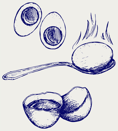 Boiled egg breakfast. Doodle style