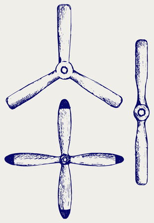 fixed wing aircraft: Aircraft propeller. Doodle style Illustration