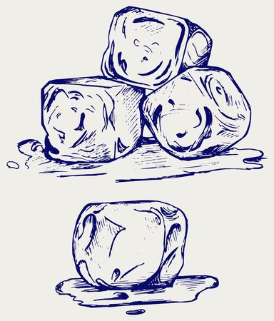 cubetti di ghiaccio: Mazzo di cubetti di ghiaccio. Doodle stile Vettoriali