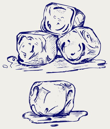 Bunch of ice cubes. Doodle style Illustration