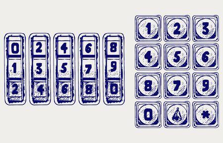 numerical code: Numerical code lock. Doodle style