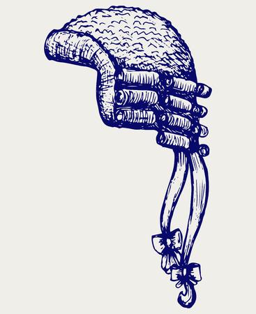 peluca: Jueces crin antiguos peluca. Doodle estilo Vectores