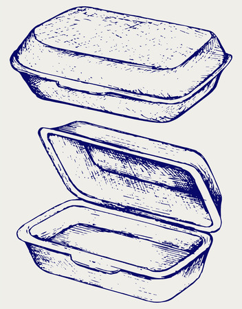 Foam meal box. Doodle style