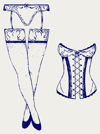 a thong: Woman in corset, fashion lingerie. Doodle style Illustration