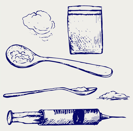 heroin: Drug syringe. Cooked heroin on spoon. Doodle style