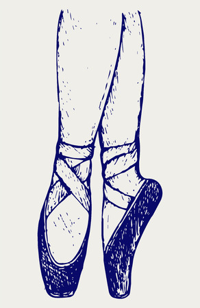 pointe: Legs and shoes of a young ballerina. Doodle style