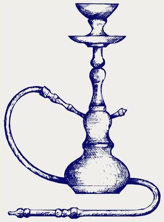 narghil�: Narghil� orientale. Doodle stile