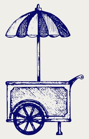hand cart: Ice cream cart. Doodle style