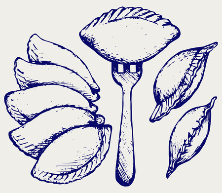 Dumplings, food set. Doodle style Illustration