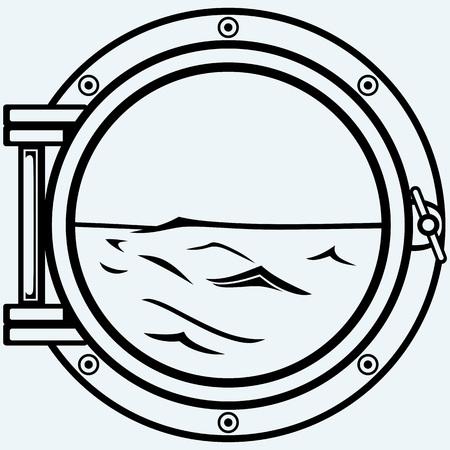 porthole: Metallic porthole. Isolated on blue background Illustration