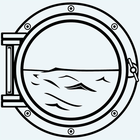 Metallic porthole. Isolated on blue background Illustration