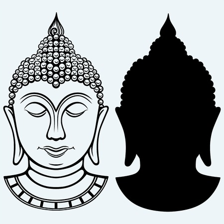 Buddha portrait. Isolated on blue background