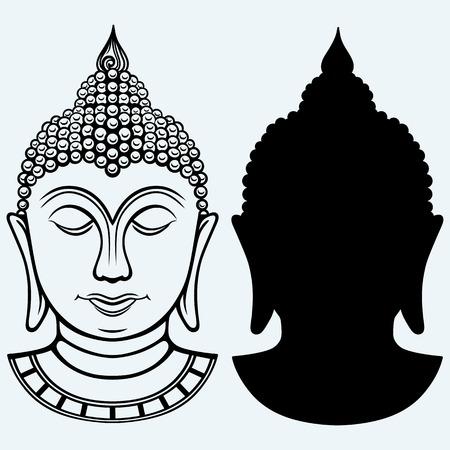cabeza de buda: Retrato de Buda. Aislado en el fondo azul Vectores