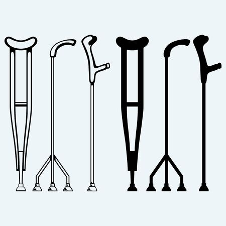 injuries: Set crutches. Isolated on blue background Illustration