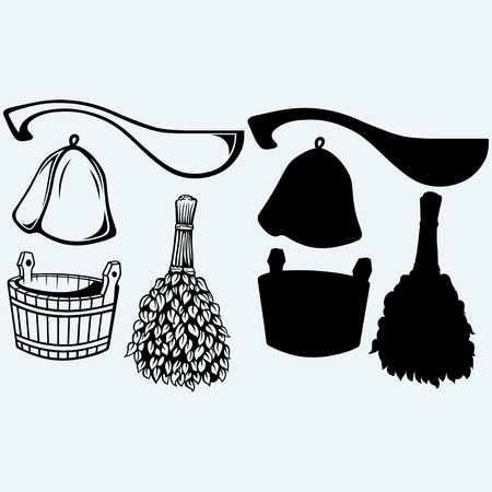 oaken: Sauna ready accessories - broom, bucket, hat and scoop. Isolated on blue background Illustration