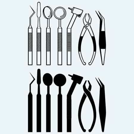 Set of medical equipment tools for teeth dental care. Isolated on blue background Vectores