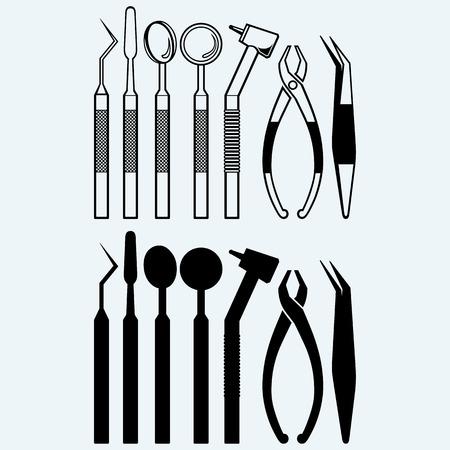 Reihe von medizinischen Geräte Werkzeuge für Zähne Zahnpflege. Auf blauem Hintergrund isoliert Standard-Bild - 44827963