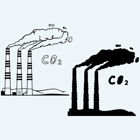 contaminate: Emission from coal power plant. Co2 cloud. Isolated on blue background Illustration