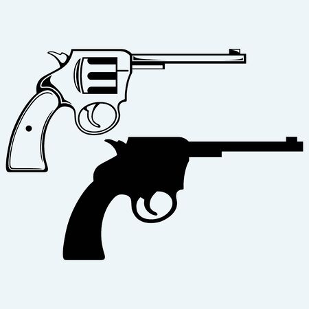 gunfire: Old pistol. Isolated on blue background